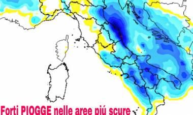 Precipitazioni via via meno intense, l'anticiclone assorbe l'instabilità.